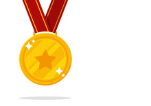 Winner's Medal Vector. Gold Medal Symbol Of Victory In Sports Events.