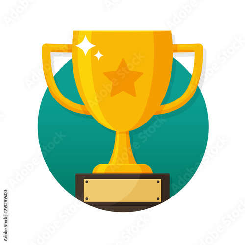 Fotografia Gold trophy with the name plate of the winner of the competition.