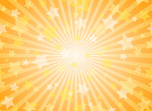 Sunlight Horizontal Background. Powder Yellow And Blue Color Burst Background With Shining Stars.