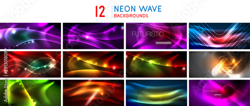 Set of neon shiny abstract wave backgrounds, dynamic energy motion concepts with blurred line elements Tapéta, Fotótapéta