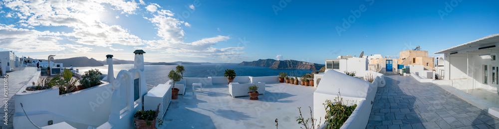 Fototapeta Panorama Oia Village architecture. Greece Santorini Island