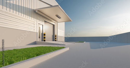 Commercial or industrial facade. That is a property use as factory, warehouse, hangar or workplace. Modern exterior design with roller door and metal wall. Stone brick paving at outdoor. 3d render.