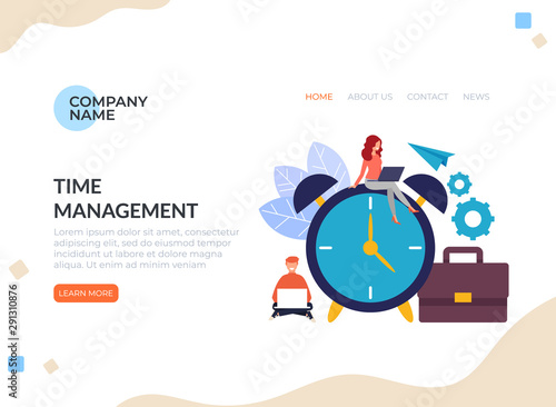 Time Management Banner Poster Concept Vector Graphic Design Flat Cartoon Illustration Buy This Stock Vector And Explore Similar Vectors At Adobe Stock Adobe Stock
