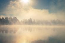 Beautiful Foggy Morning. Lake ...