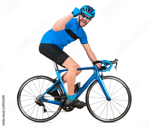 Fotografia professional bicycle road racing cyclist racer in blue sports jersey on light carbon race cycle celebration celebrating win