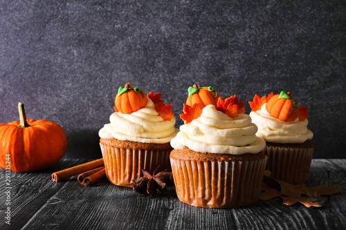 Fall pumpkin spice cupcakes with creamy frosting and autumn toppings Canvas Print