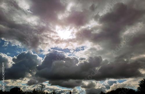 Fototapeta Thunderstorm dramatic sky rain cloud