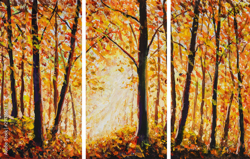 Autumn forest painting Collection of designer oil painting Wallpaper Mural