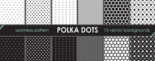 Set Of Vector Seamless And Repeating Pattern. Polka Dots Background. Printable Bundle Of The Circles And Dots. 12 Backdrops For Your Graphic Design.