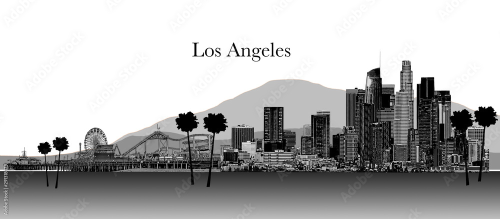 Fototapety, obrazy: Los Angeles Illustration Black and White