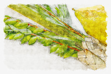 Watercolor Style And Abstract Image Of Jewish Festival Of Sukkot. Traditional Symbols (The Four Species): Etrog, Lulav, Hadas, Arava