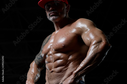 Handsome strong athletic men pumping up muscles workout fitness and bodybuilding concept background - muscular bodybuilder fitness men doing abs exercises in gym naked torso Tapéta, Fotótapéta