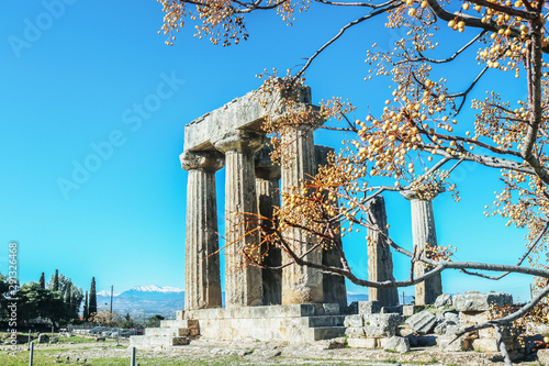 Poster de jardin Europe Méditérranéenne Columns and remains of Temple of Apollo in Corinth Greece on a sunny winter day with dried chinaberry limbs and berries blurred in foreground and snowy mountains in distance