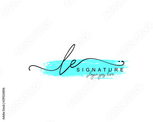 Fototapeta Initial LE beauty monogram and elegant logo design, handwriting logo of initial