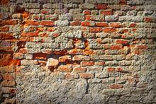 Grungy Damaged Old Brick Wall