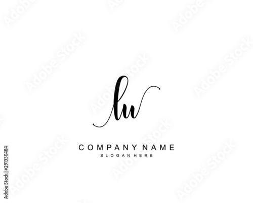 Initial LU beauty monogram and elegant logo design, handwriting logo of initial signature, wedding, fashion, floral and botanical with creative template Fototapete
