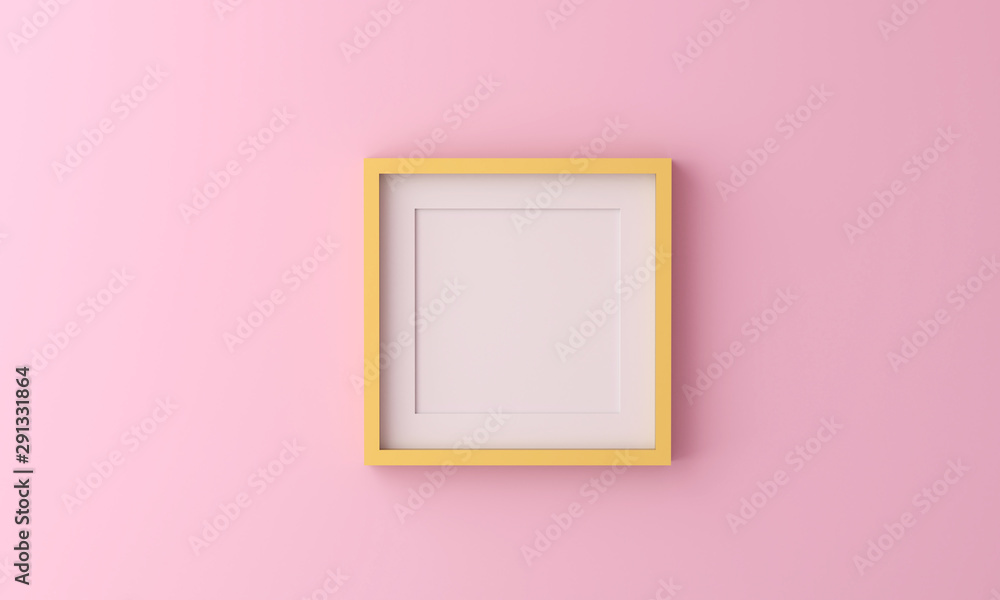Fototapeta yellow picture frame for insert text or image inside on pastel pink color.