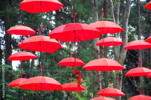 red umbrellas in Fenghuang China