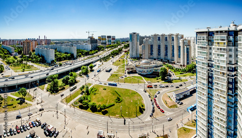 Foto auf Gartenposter Paris A modern area on the outskirts of Moscow with multi-storey residential buildings