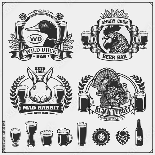 Beer set emblems with duck, rooster, rabbit and turkey Wallpaper Mural