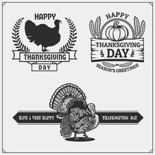 Set Of Thanksgiving Day Emblems, Labels And Design Elements For Greeting Cards. Vintage Style.