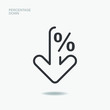 Percentage sign down. Arrow symbol reduction isolated. Vector illustration