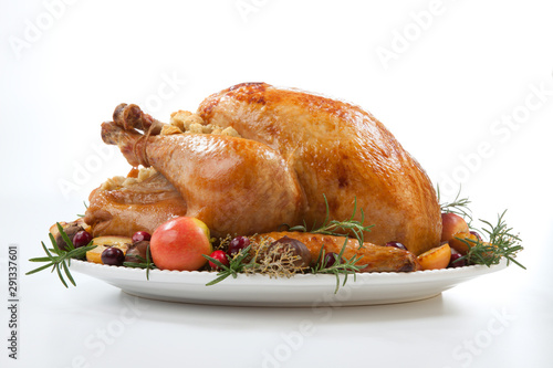 Roasted Turkey with Grab Apples over white - 291337601