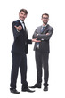 in full growth. two businessmen standing together