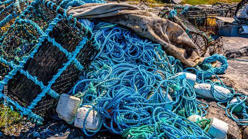 Fotografija  Accumulation of marine litter, such as fishing nets, ropes, lobster / crab cages