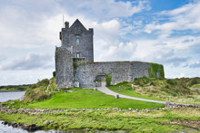 Old Irish Dunguaire Castle And Cloudy Sky