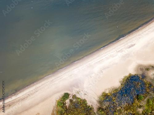 Fototapeta drone View on the sandy seashore. Gulf of Finland, Petersburg, Russia obraz na płótnie