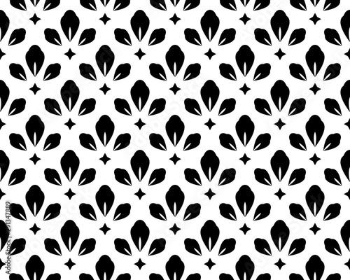 Fototapeten Künstlich Flower geometric pattern. Seamless vector background. White and black ornament
