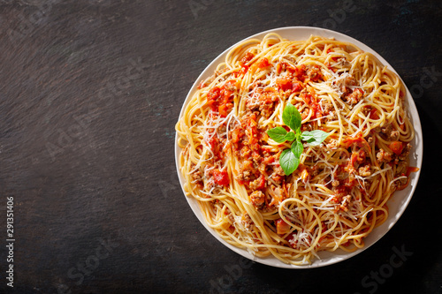 plate of pasta bolognese, top view Canvas Print
