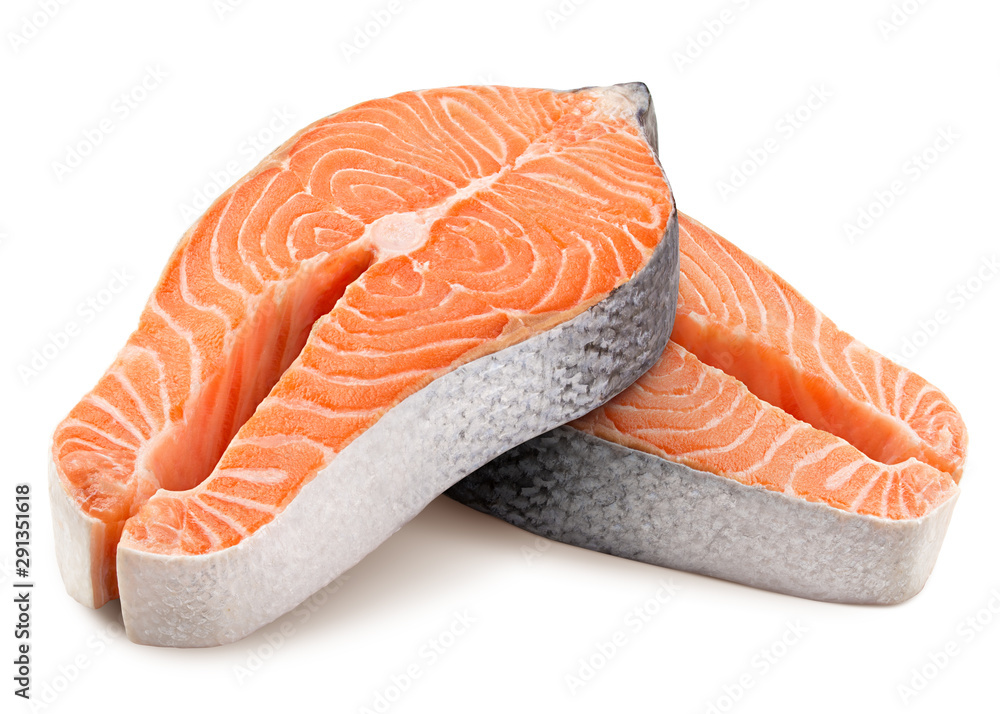 Fototapeta salmon, trout, steak, slice of fresh raw fish, isolated on white background, clipping path, full depth of field