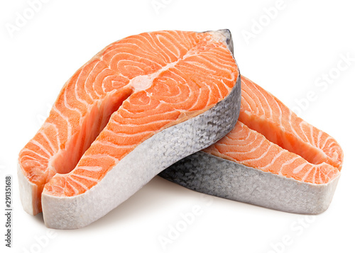 Obraz na płótnie salmon, trout, steak, slice of fresh raw fish, isolated on white background, cli