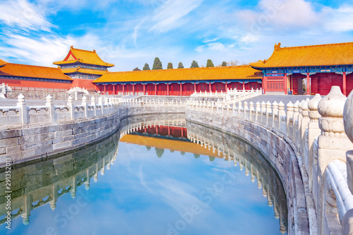 Imperial Palace in the Forbidden City in Beijing in the evening, China