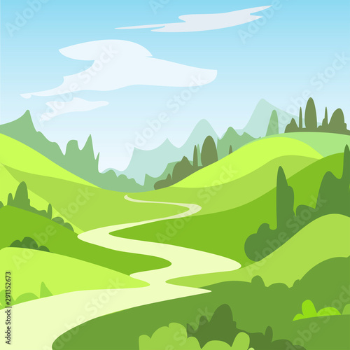 Foto auf AluDibond Lime grun Cartoon landscape with green fields, trees. Beautiful rural nature. Vector Illustration.