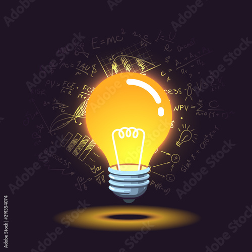 Obraz Glowing idea light bulb and formulas in background - fototapety do salonu