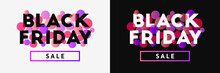 Black Friday And Sale Banner Concept With Pink And Related Gradient Colored Dots.