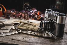 Vintage Camera On Wooden Backg...