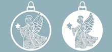 Icon In The Form Of Christmas Toys, Angel Template, Holding A Star. Template For Laser Cutting And Plotter.
