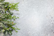 Leinwanddruck Bild - Christmas or winter background with a border of green and frosted evergreen branches on a grey vintage board. Flat lay