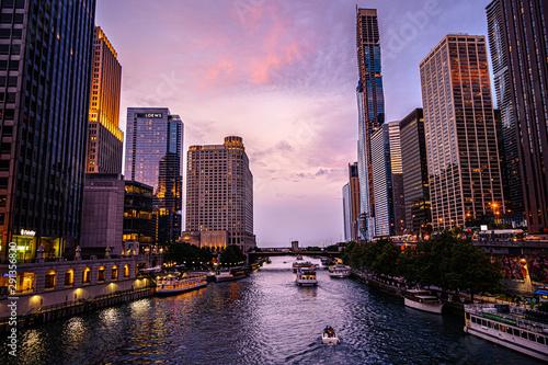 Skyline Chicago Illinois USA Sunset Wallpaper Mural