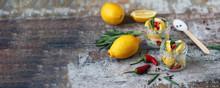Fermented Lemons In Jars Of Sa...