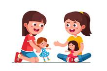 Happy Smiling Girls Kids Playi...