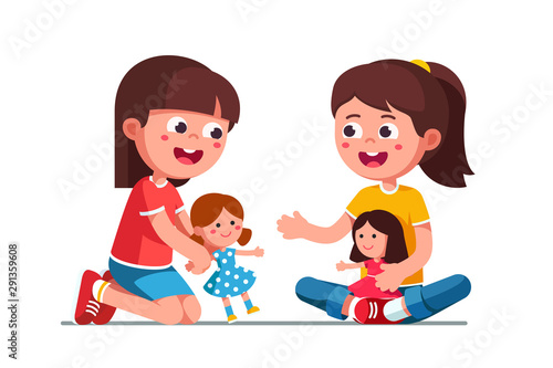 Valokuvatapetti Happy smiling girls kids playing with dolls
