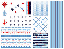 Set Of Marine And Nautical Bac...
