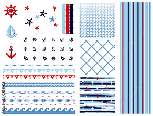 Foto Set of marine and nautical backgrounds
