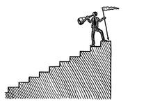 Drawn Man Atop Stairs Looking Back Via Spyglass