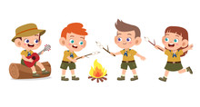 Happy Cute Kids Summer Camp Holiday Set